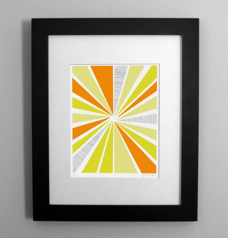 Orange and Yellow Sunburst Art Print - 8 x 10