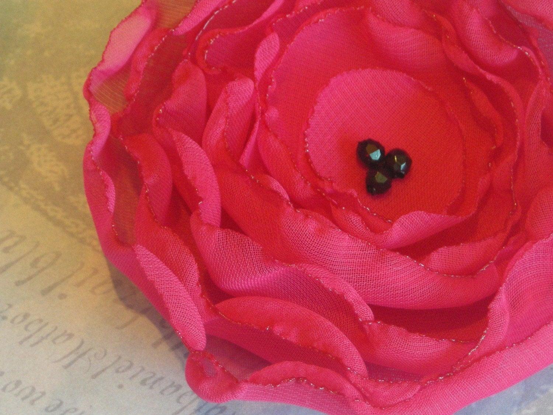 Hot pink flower brooch or hair clip