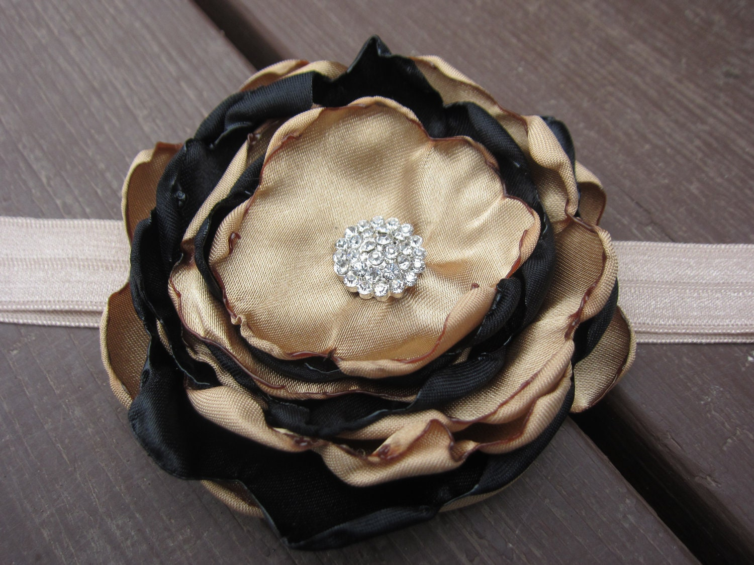 Holiday Gold and Black Satin Fabric Flower  on Golden Beige Elastic Headband with Rhinestones - Christmas, Newborn, Infant, Baby, Toddler