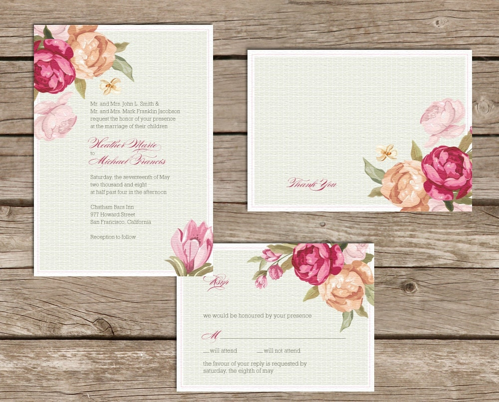 Rose Wedding Invites Digital File print it yourself