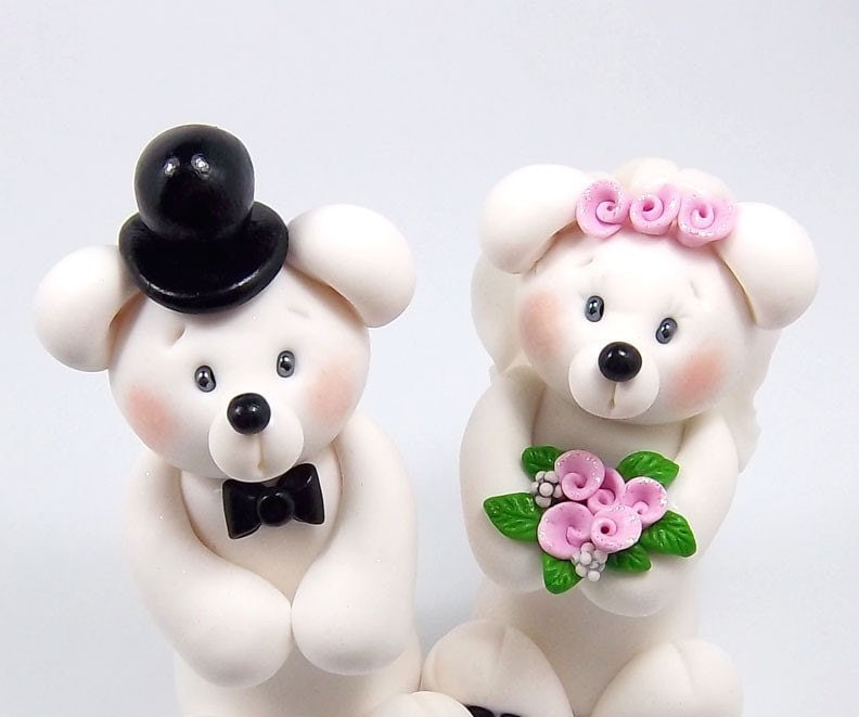 Personalized Wedding Cake Topper - Polar Bears Couple Theme Polymer Clay Figurines