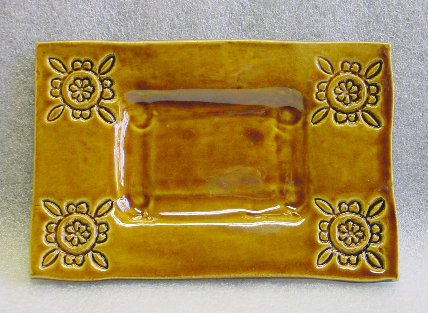 Amber Pottery Sushi Plate, Trivet Tray Soap Dish  with Imprinted Design