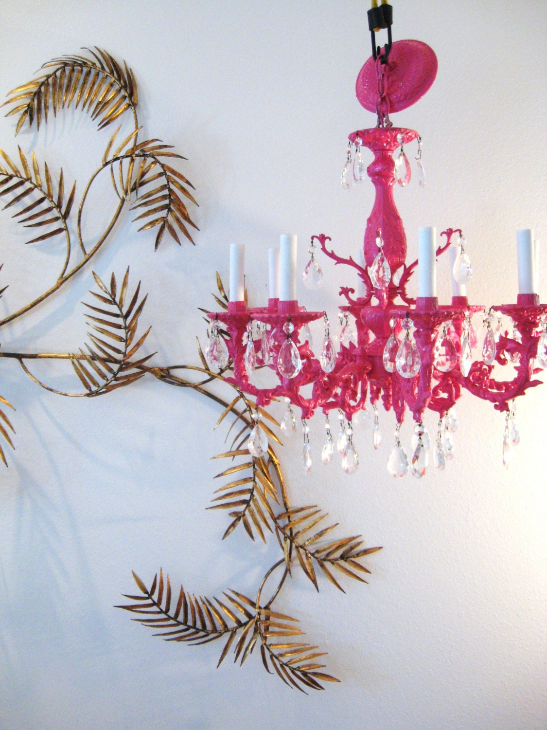 SEXY Hollywood Regency HOT PINK Vintage CHANDELIER