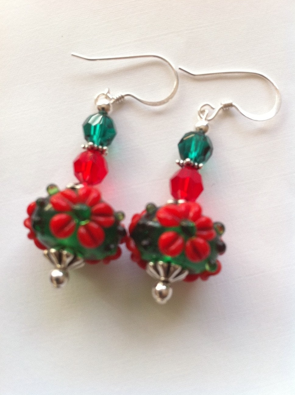 Sterling Silver Green with Red Flowers - Flower Bed