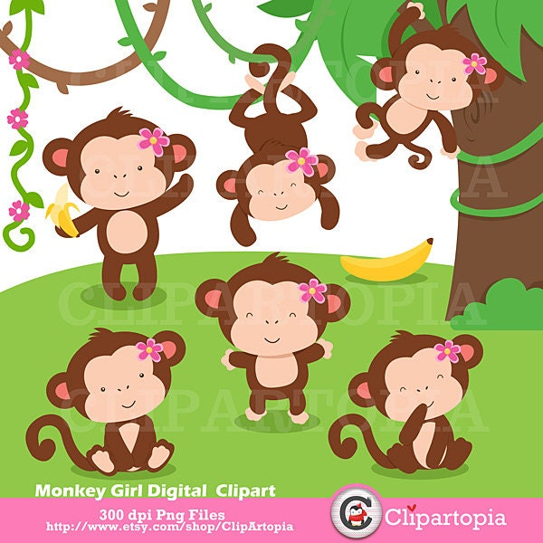 Monkey Girl Digital Clipart / Cute Monkey Girls Clip art For Personal ...