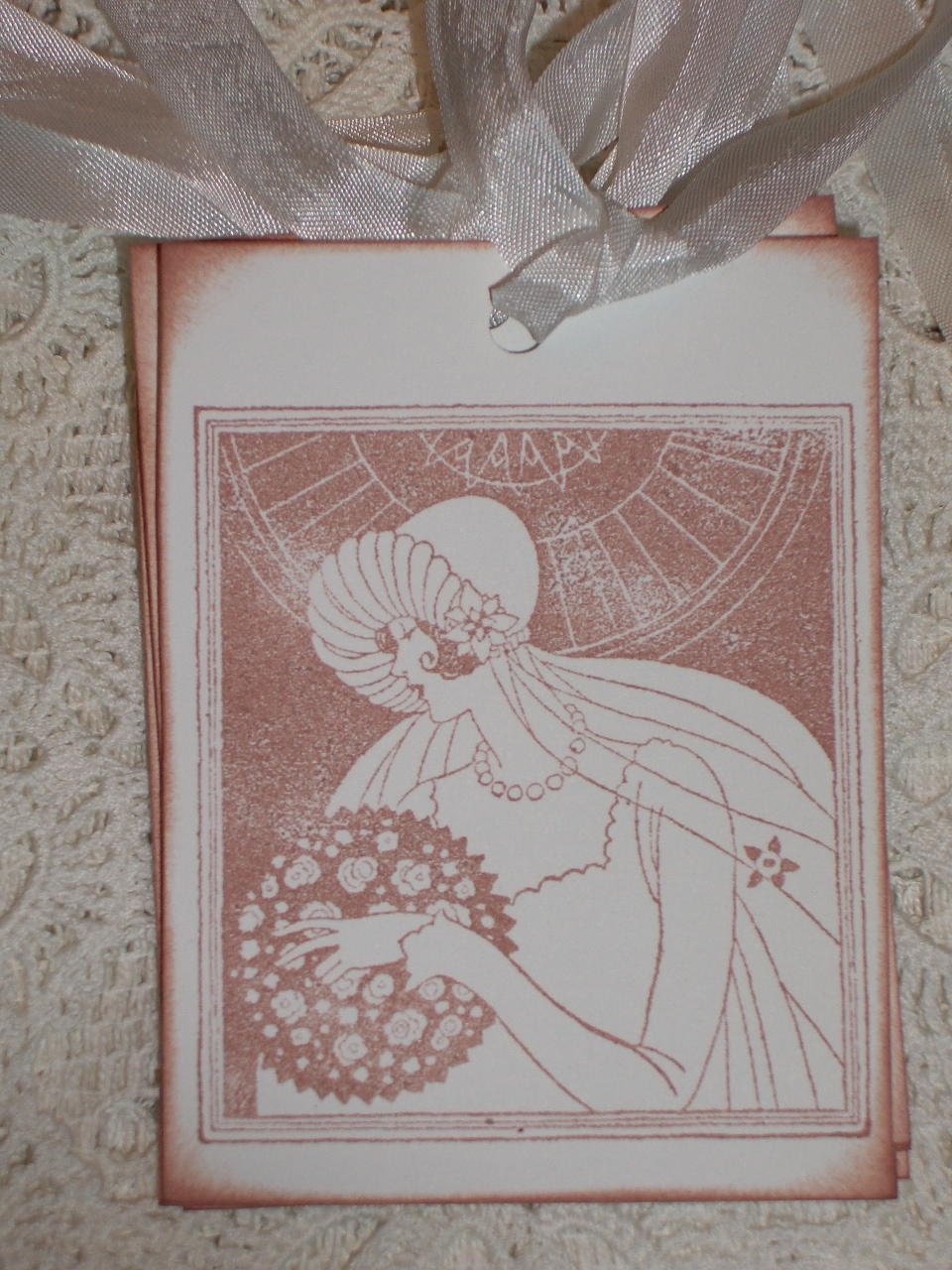 Art Deco Wedding Gift : Wedding Gift Tags -Beautiful Vintage Bride - Art Deco - Wish Tree Tags ...