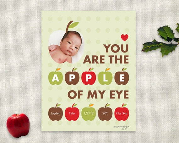 Apple of My Eye Nursery art Nursery decor Kids Wall art Gender neutral Baby boy girl Personalized gift 8x10 Brown olive red Fall MossyJojo - MossyJojo