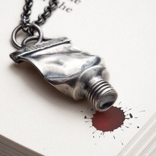 Silver paint tube necklace - Red Sofa jewelry