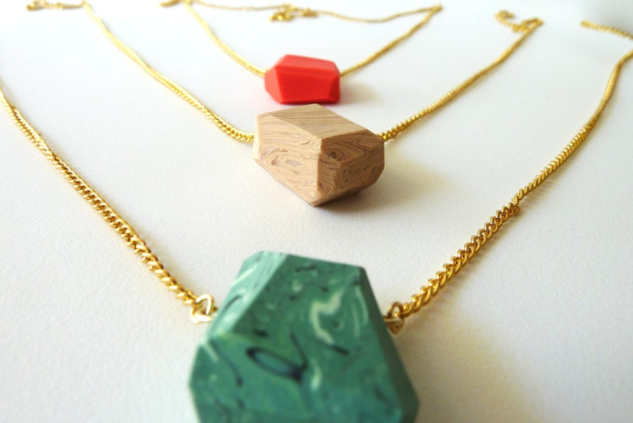 pick a color large pendant geo necklaces