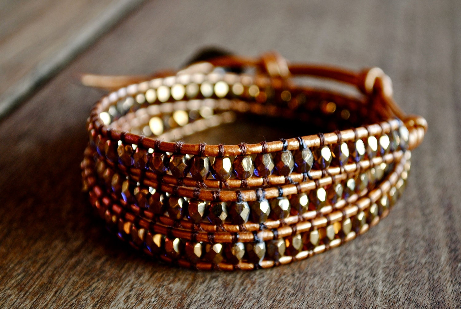 Gold Orange Indian Sun Hint of Purple Leather Beaded Wrap Bracelet Chan Luu Style - FolkPetals