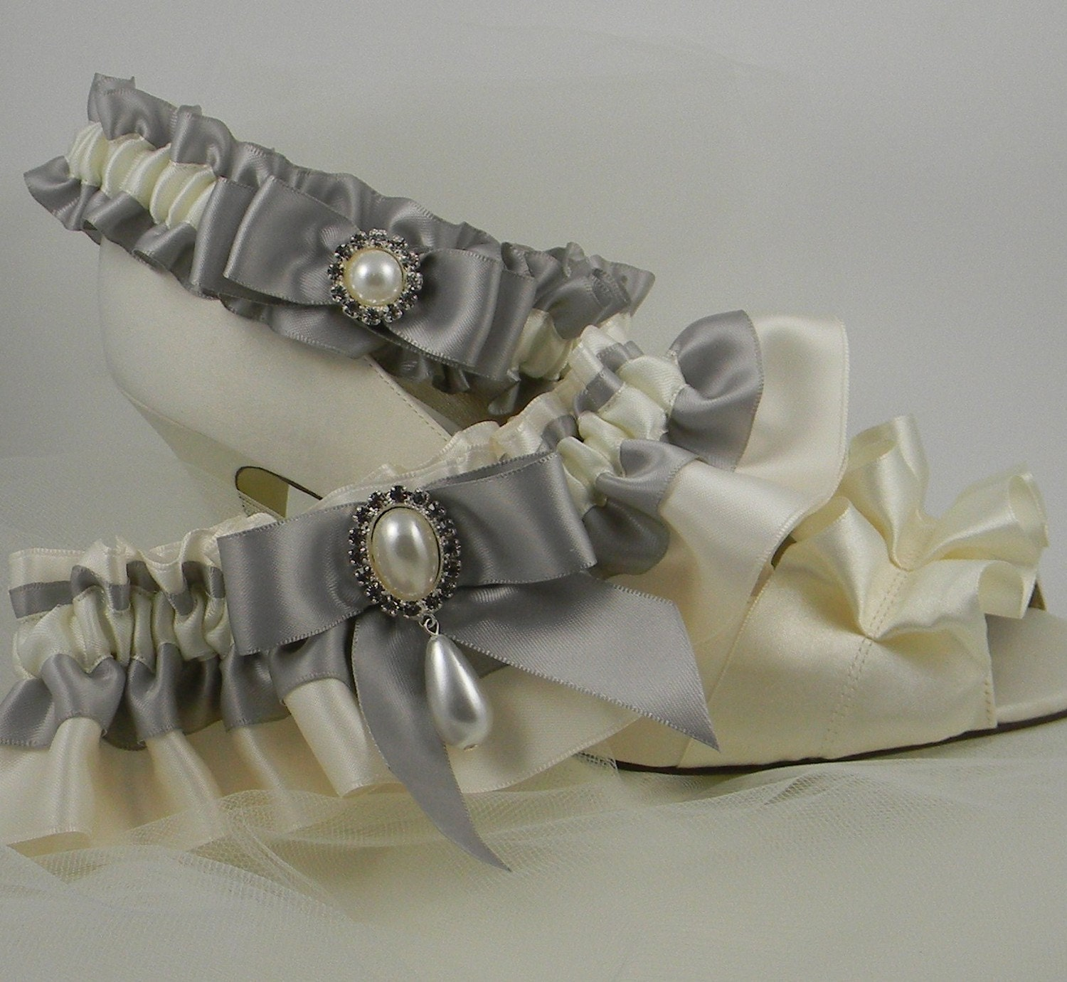Bridal Garters, Toss and Keep, Satin, Ivory and platinum, Pearl/rhinestone drop embellishment