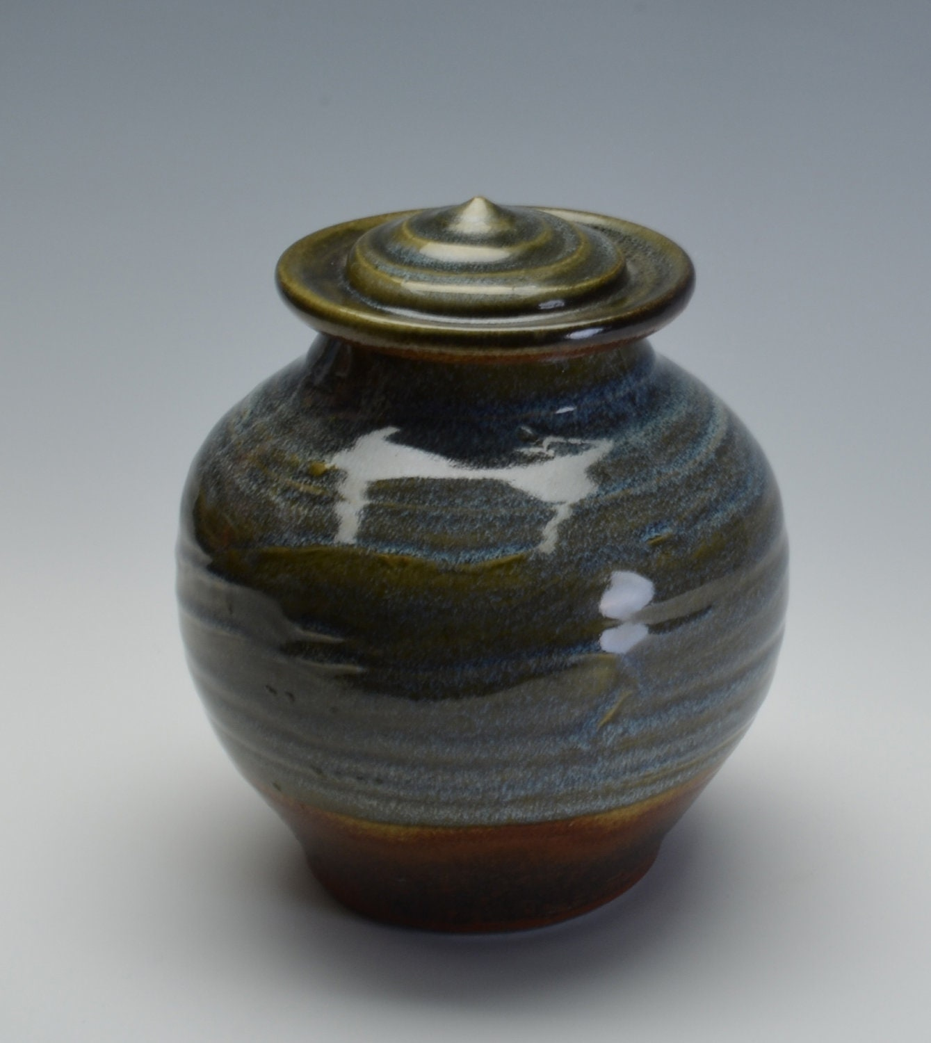 Memorial/Cremation Urn with blue green  and earthy ash  glazes