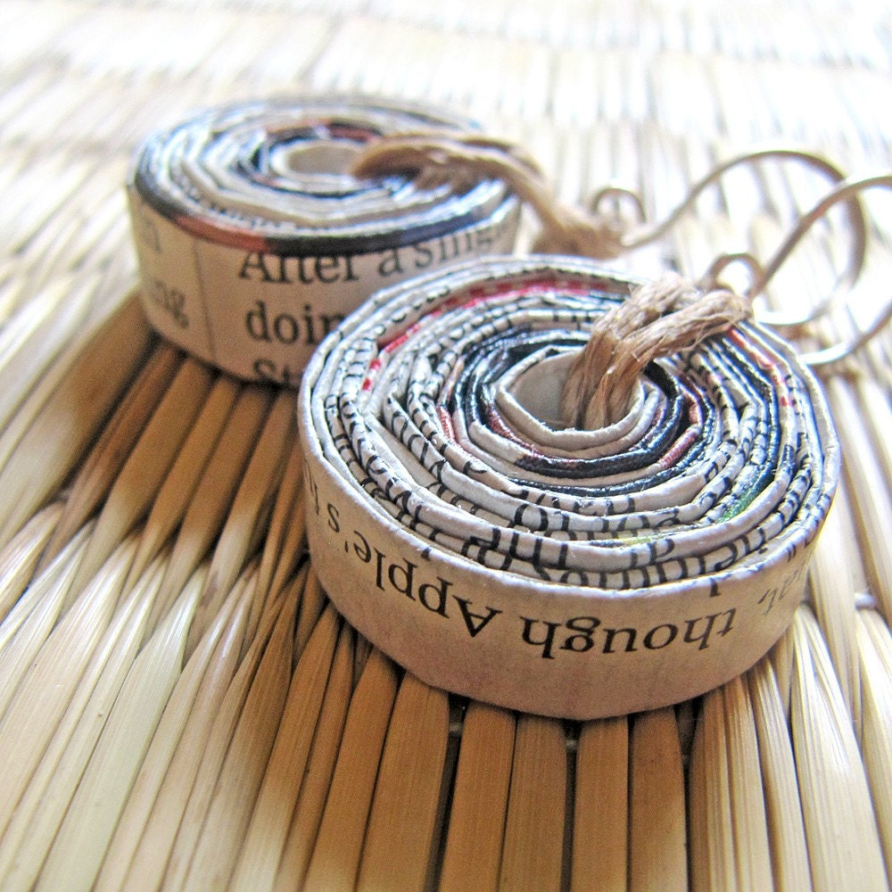 Recycled Newspaper Roller Bead Earrings