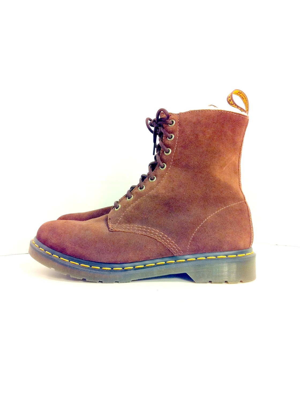brown leather doc marten combat boots 11 by melissajoyvintage
