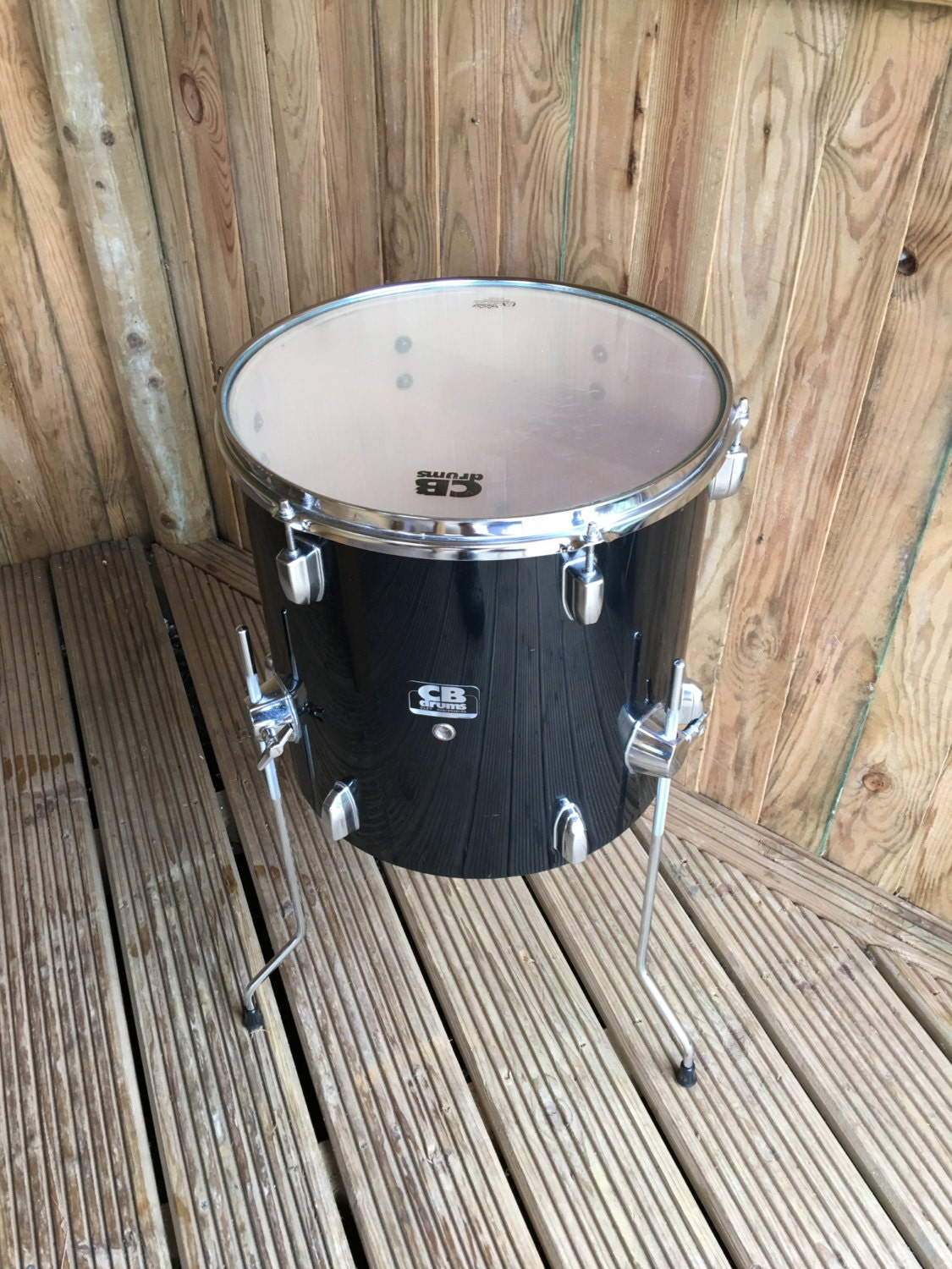 Upcycled 36cm Gloss black CB Drums Retro Coffee table with glass top.