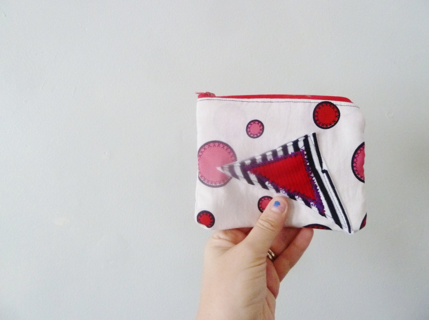 the red dot pouch ... one of a kind, eco-friendly zipper pouch