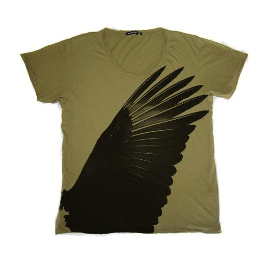 Mens Destroyed Vneck Tshirt in Moss Green feat