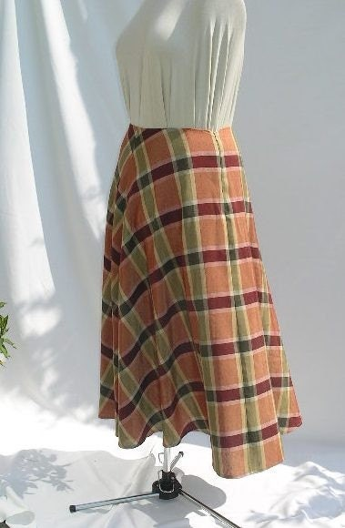 Full Circle Checked  Skirt -plus size