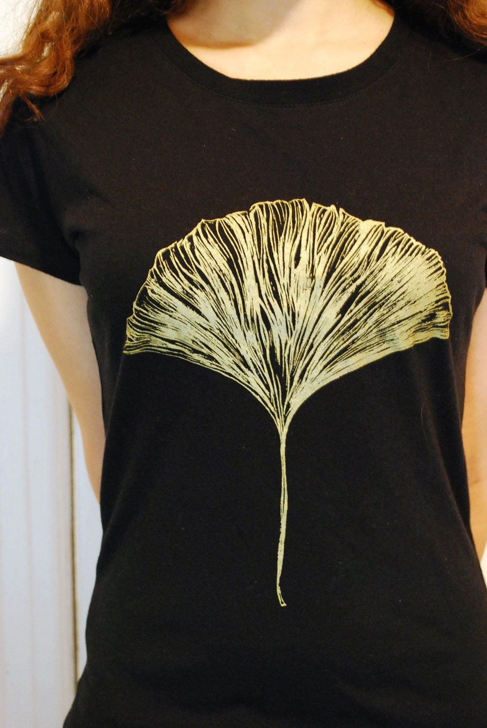 Small Bamboo/Organic Cotton Silkscreened Ginkgo leaf t-shirt, by ladylotus on etsy