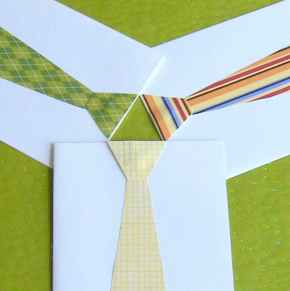Custom Colors / Patterns Necktie Cut Out Cards / Stationery Set of 8 Great for Weddings - Made to Order