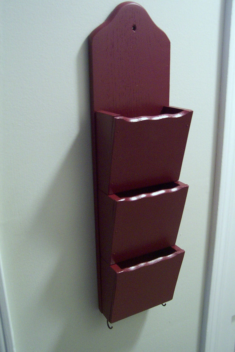 Rustic Classic Royal Garnet Upcycled Mail Organizer / Sorter