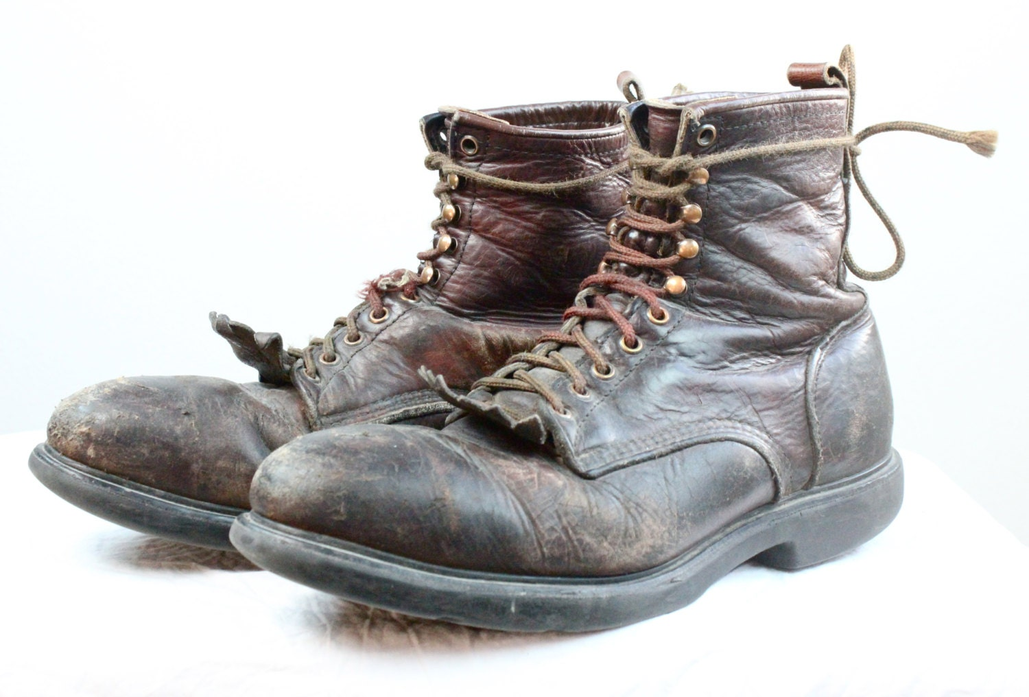 Vintage Red Wing Mens Rustic Leather Work Boots - claudedonohoshop