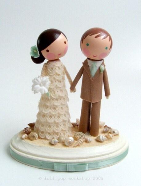 custom beach wedding cake topper