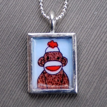 Sock Monkey - Rectangular Pewter Pendant by ksickles on Etsy