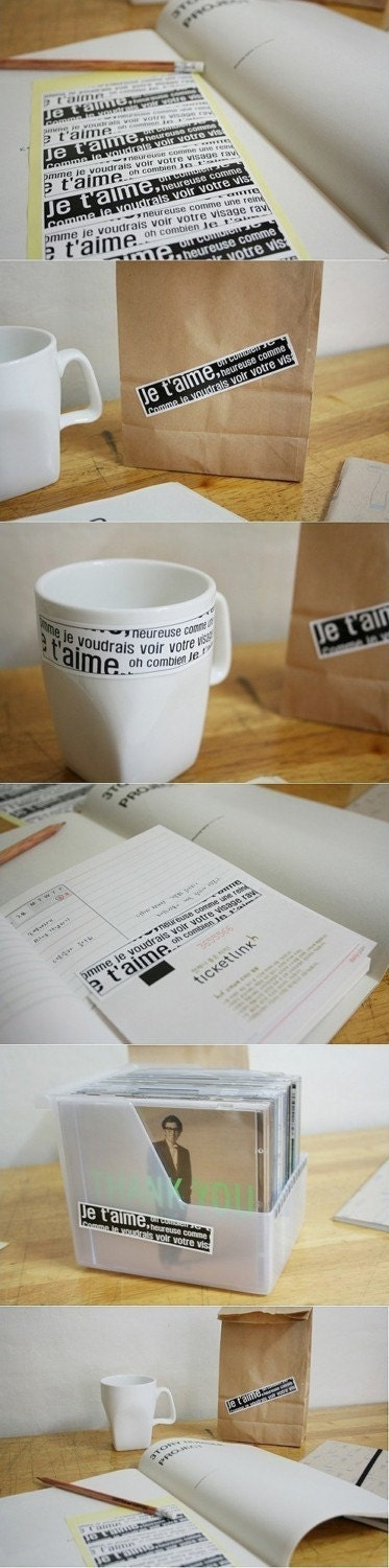 Je t'aime White and Black Label Sticker - 2sheets of 24p