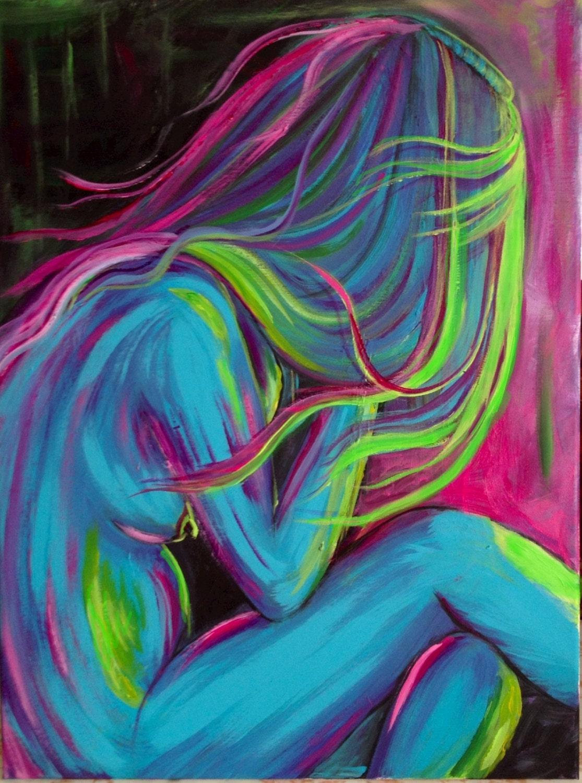 Nude in blue and magenta - TammyHandArt
