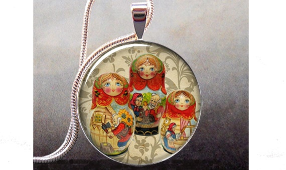 Dolls art pendant, matryoshka jewelry charm, doll necklace charm ...
