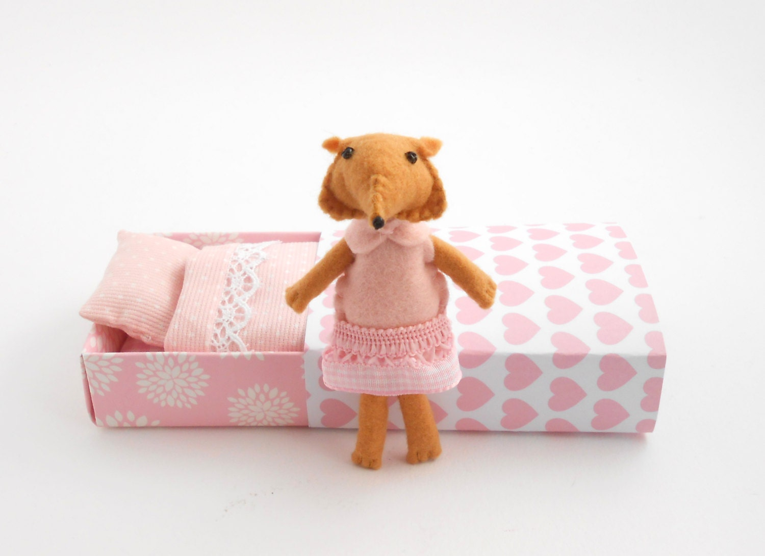 Pink felt fox, pocket animal, stuffed animal - atelierpompadour