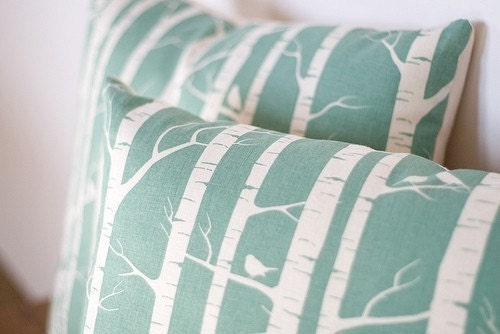 Set of 2 Handprinted Birch Forest Cushion Covers in Robins Egg (Pillow Covers)