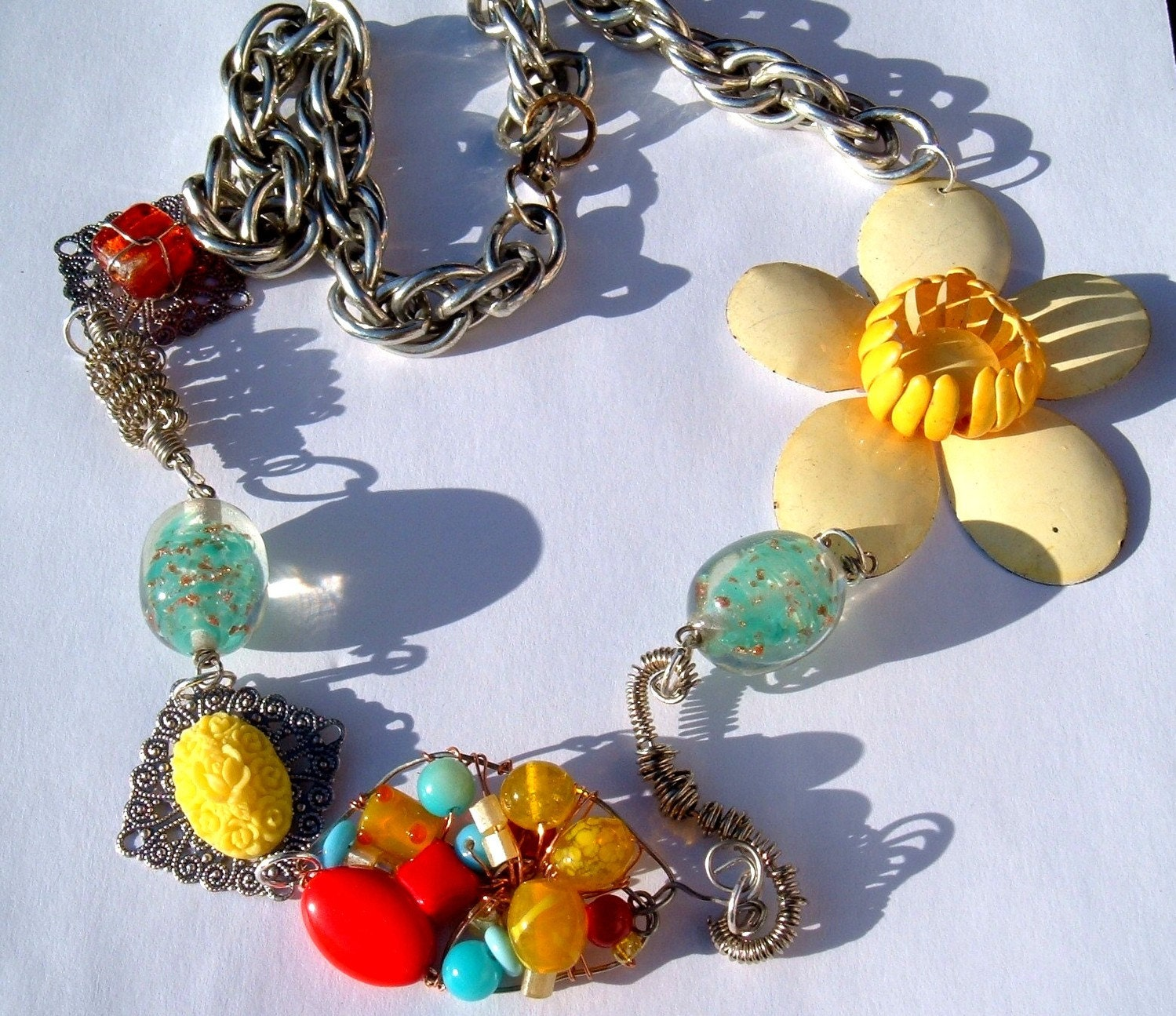 Cornfusion Sunshine unrowed  reclaimed recycled ooak necklace