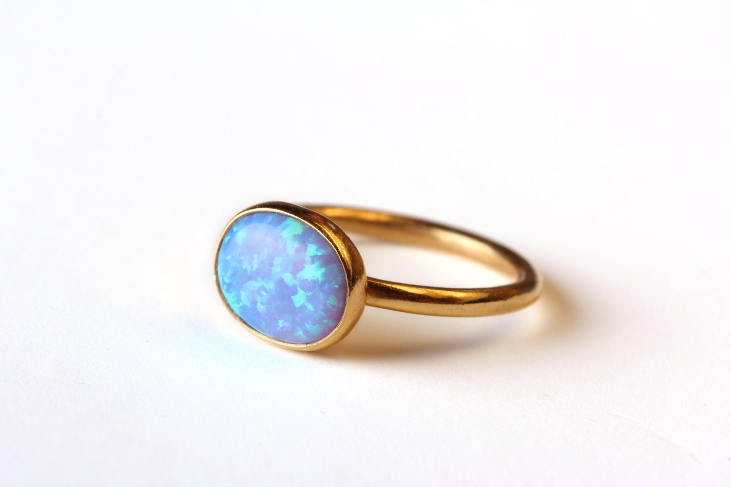 opal ring band 18kt gold vermeil simple but by lianie