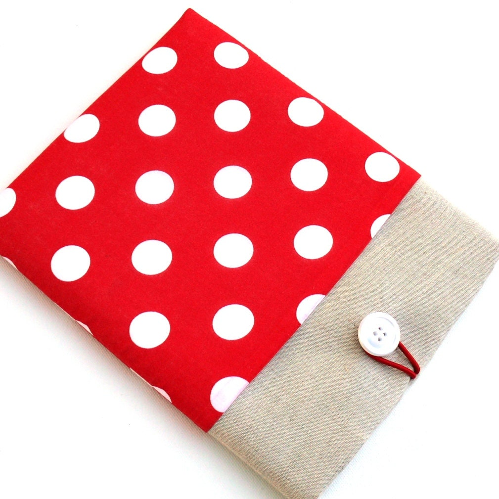 Kindle Paperwhite Voyage Amazon Fire HD 8 Case Nook Cover Galaxy Tab 4 7 CaseSUPERIOR Shock Absorbent Padding  Polka Dot Cotton Fabric