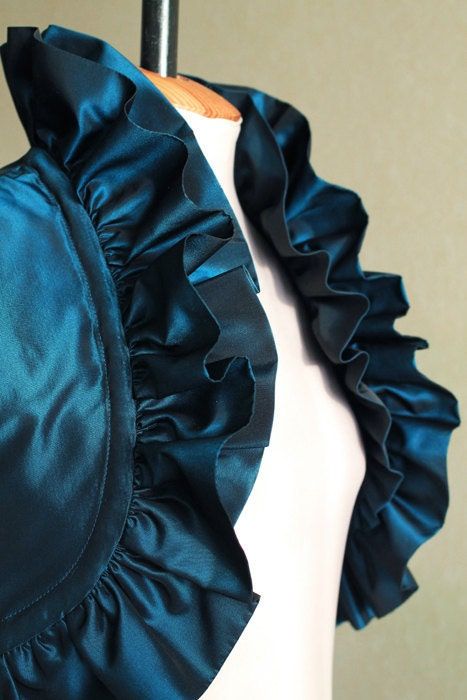 OOAK Navy Turqouise Dark Blue Aquamarine Taffeta Bolero Jacket Luxury Bolero - Bridesmaid Bridal Bolero - very small, XXS-size - Ollegoria