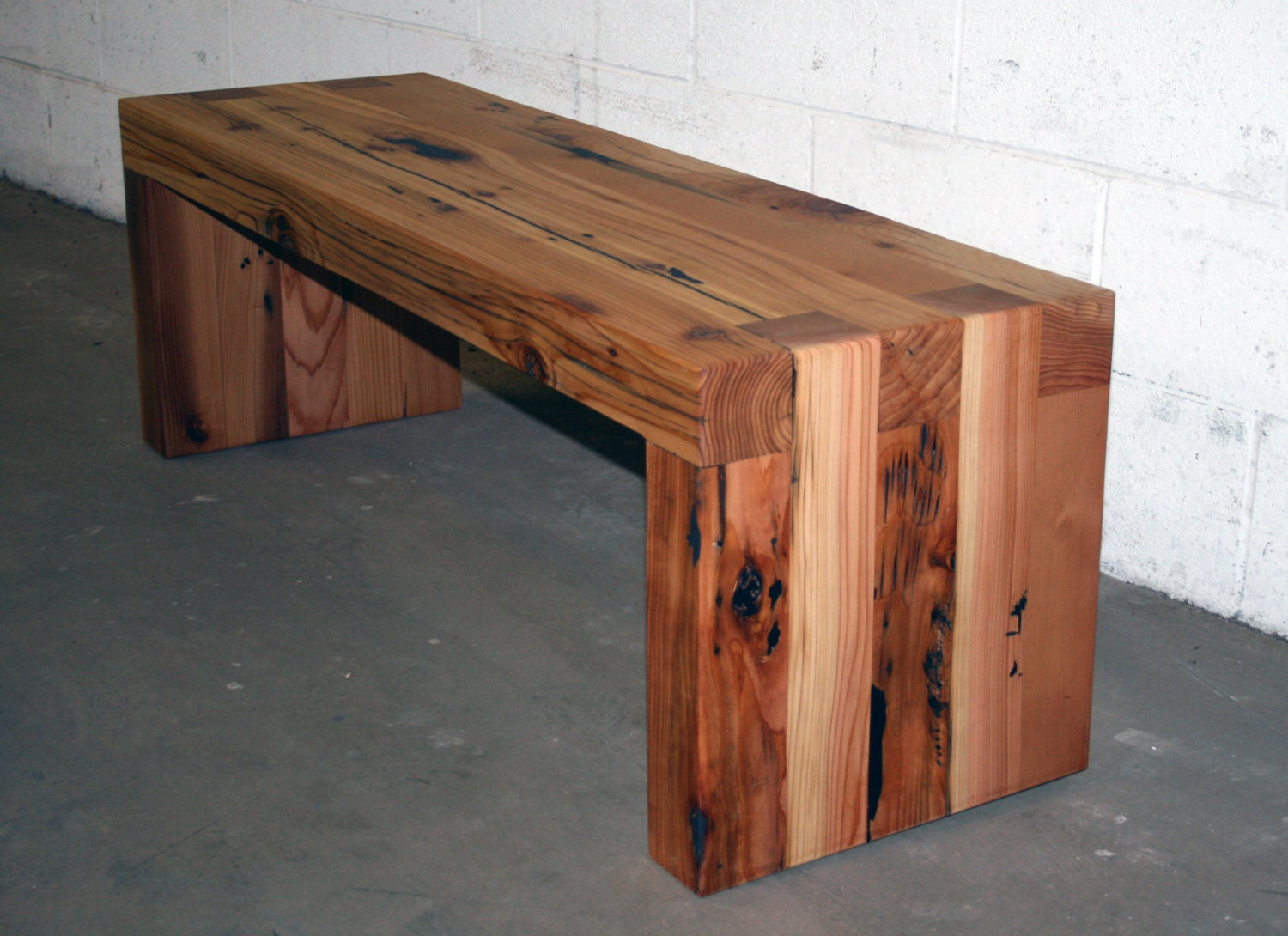 4 39 reclaimed cedar box joint bench coffee table by lunarcanyon for Coffee tables 4x4