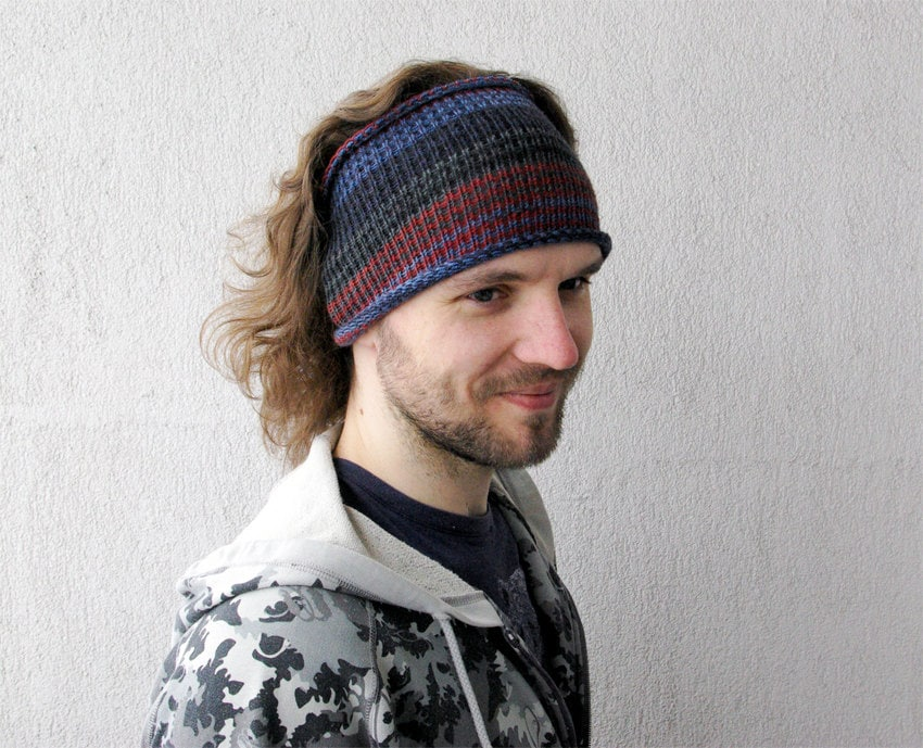 Knitted Mens Headband Guys knit hair wrap blue by mareshop