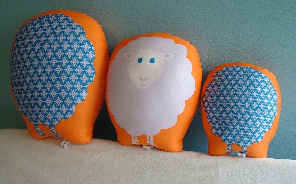 Medium Organic Decorative Sheep Pillow Friend - orange teal lavender - perfect for nursery