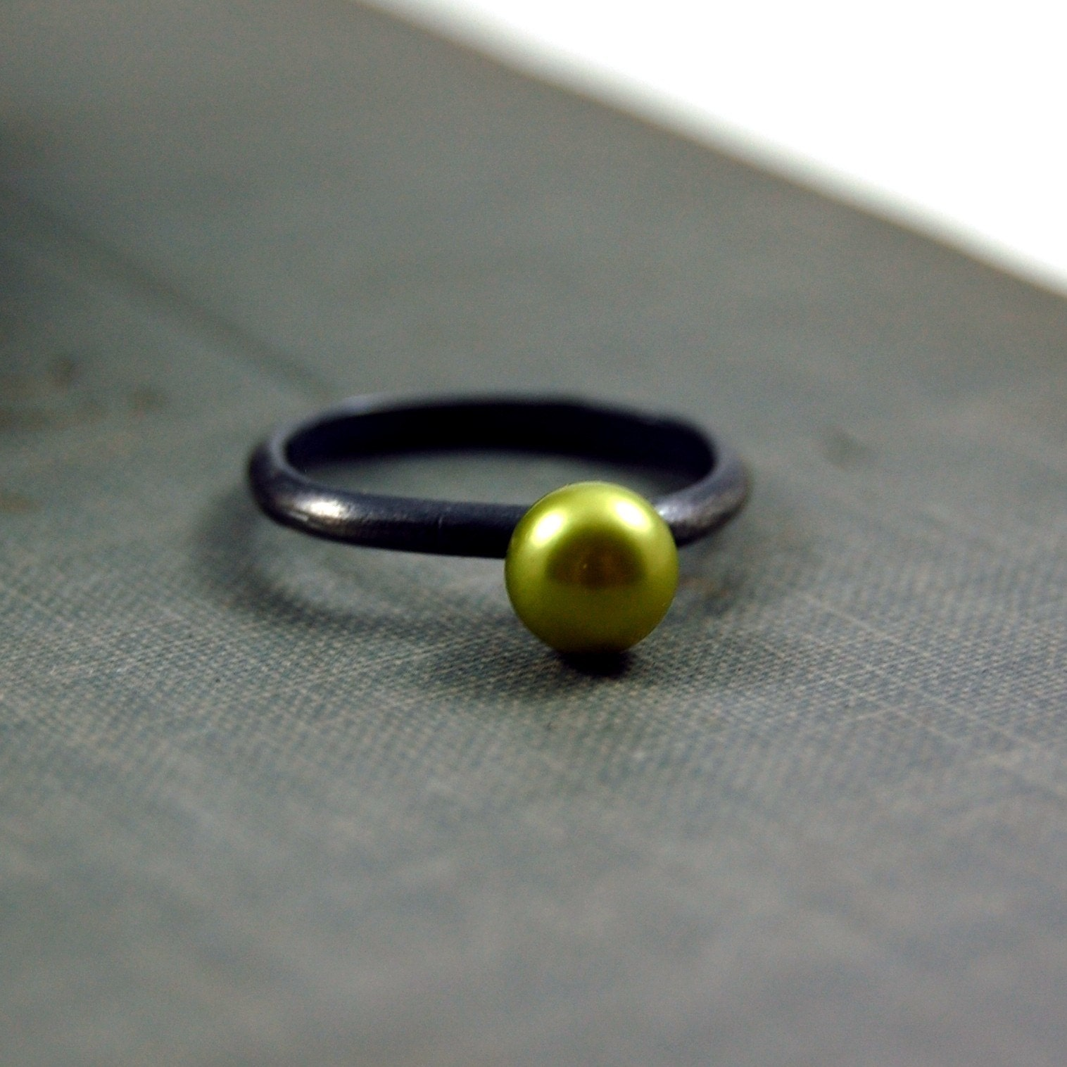 Lime Green Pearl Ring, $60