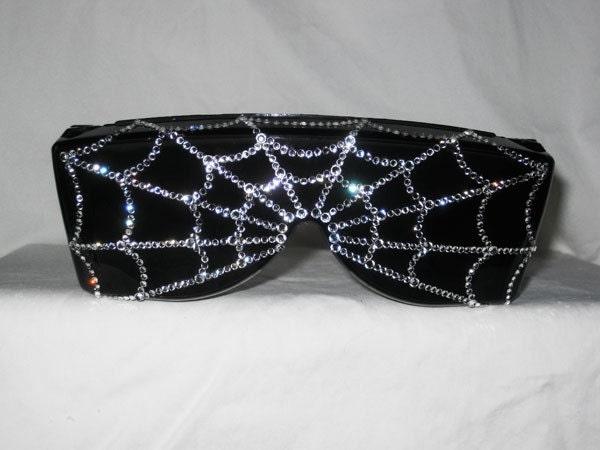 Arachnophobia - Swarovski Rhinestone Spider Web Sunglasses