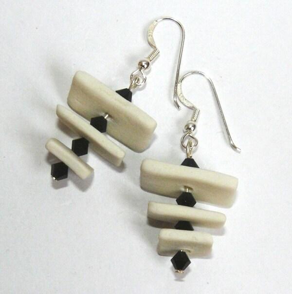 Black and white porcelain earrings with black Swarovski and sterling silver hooks earrings - MagArtStudio