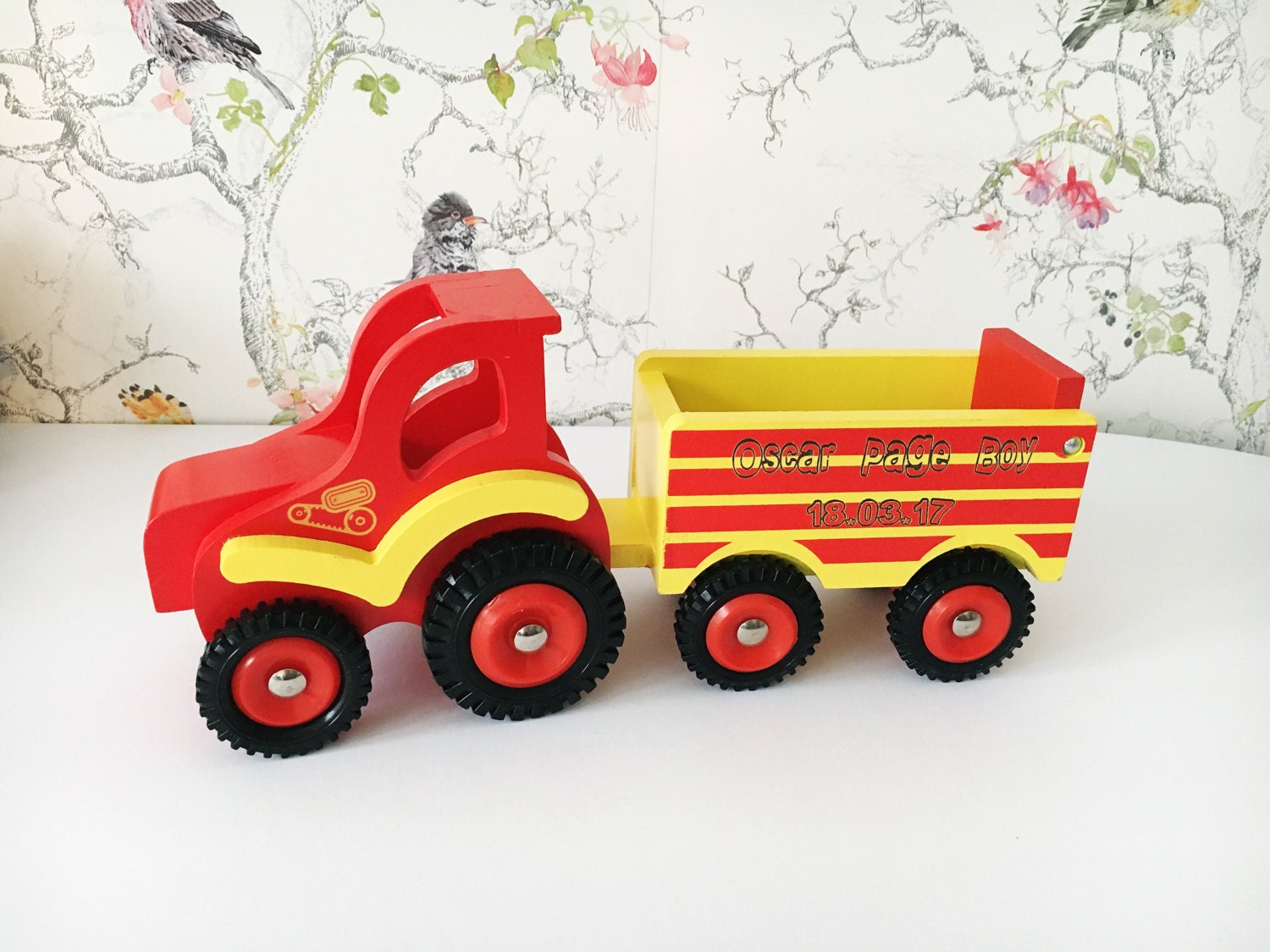 Wooden personalised tractor with childs name engraved  page boy gift  wedding