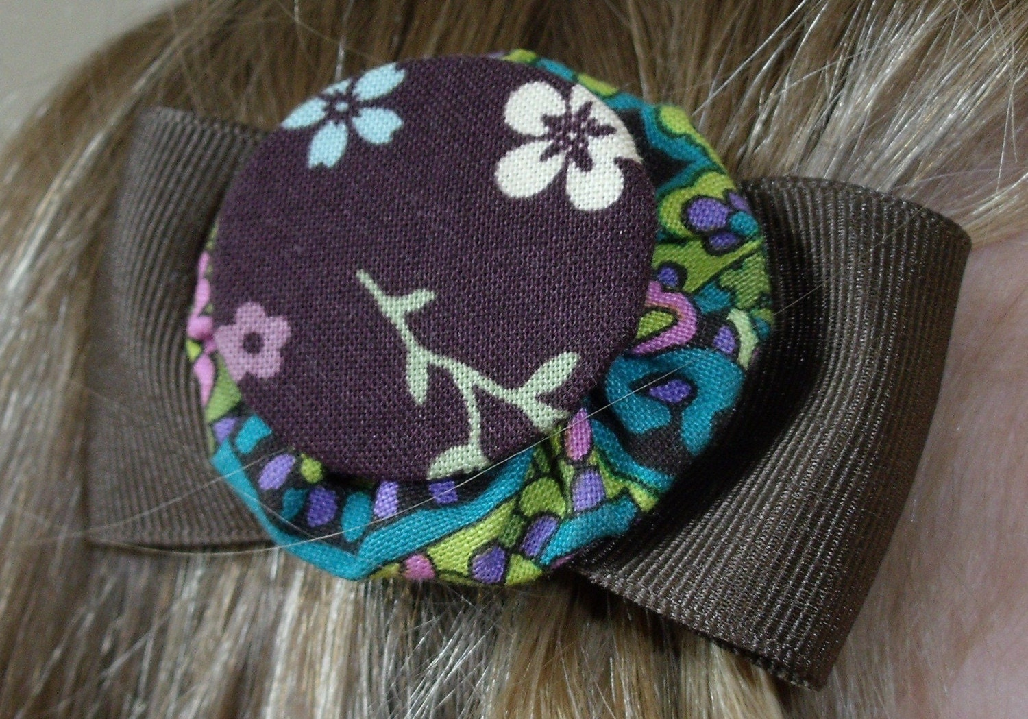 Paisley and Flowers YoYoBows with brown ribbon FREE SHIPPING