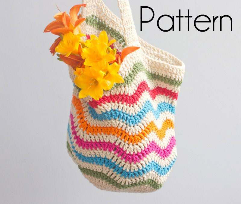Free Crochet Chevron Purse Pattern : Crochet Pattern PDF Digital Download Chevron Market by ...