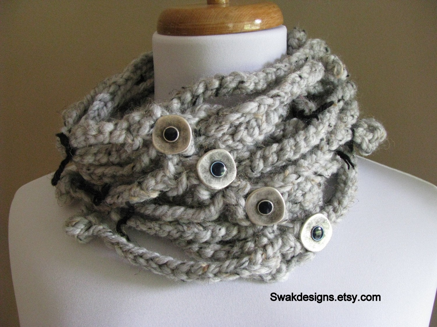 BALL, CHAINS, and FREEDOM Cowl Scarf in GRAY TWEED...READY TO SHIP