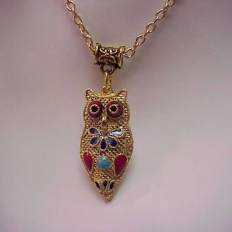 Gold Owl Enameled Necklace