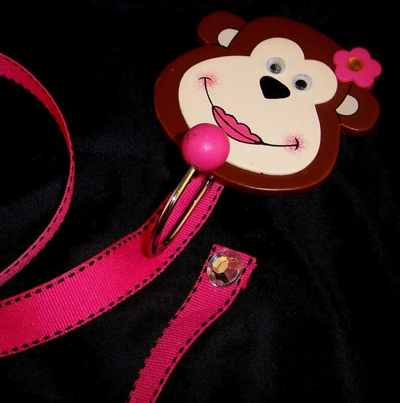 Hair Bow Holder - Pink Monkey