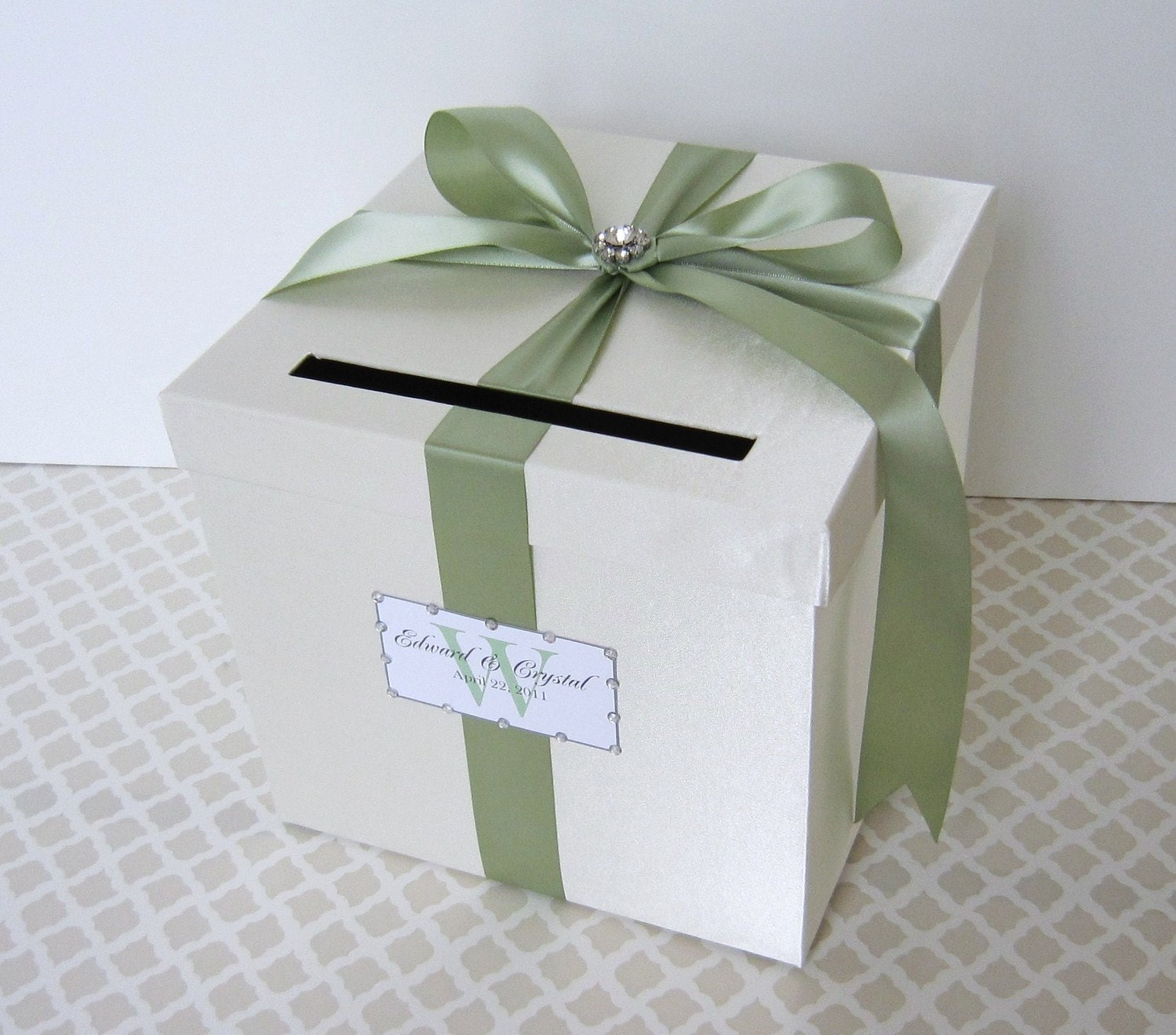 Wedding Card Box Ivory/ Sage Green Money Holder Custom Made ANY Color and Combination